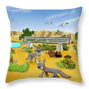 Quarry Lakes And Gray Foxes Throw Pillow