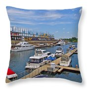 Quays Along Saint Lawrence River In Montreal-qc Throw Pillow