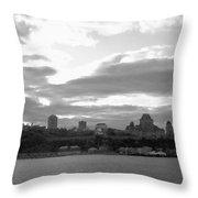 Quebec City Panorama B N W Throw Pillow