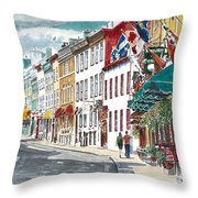 Quebec Old City Canada Throw Pillow by Anthony Butera