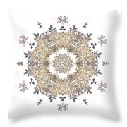 Queen Annes Lace I Flower Mandala White Throw Pillow
