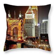 Queen City At Night Throw Pillow