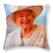Queen Elizabeth II Portrait 100-028 Throw Pillow