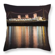 Queen Mary Decked Out For The Holidays Throw Pillow