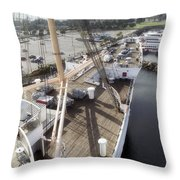 Queen Mary Ocean Liner Bow 03 Long Beach Ca Throw Pillow
