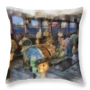 Queen Mary Ocean Liner Bridge 01 Photo Art 01 Throw Pillow