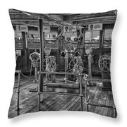 Queen Mary Ocean Liner Bridge 02 Bw Throw Pillow