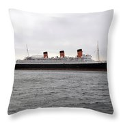 Queen Mary Ocean Liner Full Starboard Side 03 Long Beach Ca Throw Pillow