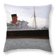 Queen Mary Ocean Liner Starboard Side 05 Long Beach Ca Throw Pillow