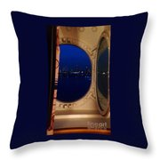 Queen Mary Port Hole Night  Throw Pillow