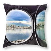 Queen Mary Starboard View Throw Pillow