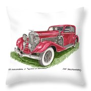 Queen Of Diamonds 1933 Duesenberg Model J Throw Pillow