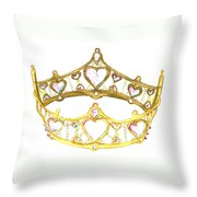 Queen Of Hearts Crown Tiara By Kristie Hubler Throw Pillow