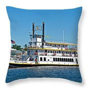 Queen Of Seattle Vintage Paddle Boat Art Prints Throw Pillow