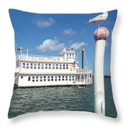 Queen Victoria Ferry And Seagull Throw Pillow