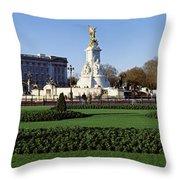 Queen Victoria Memorial At Buckingham Throw Pillow