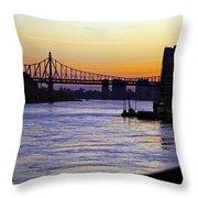 Queensboro Bridge At Night - Manhattan Throw Pillow