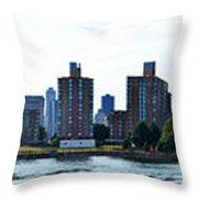 Queensboro Bridge / Roosevelt Island Panorama Throw Pillow