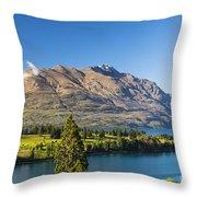 Queenstown Golf Club And Lake Wakatipu Throw Pillow