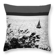 Quick Silver - Sailboat On Lake Barkley Throw Pillow
