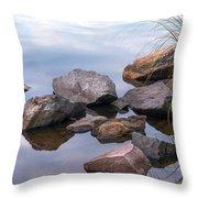 Quiet Morning. Ladoga Lake Throw Pillow
