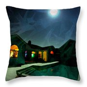 Quiet Night With A Full Moon Throw Pillow