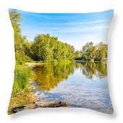 Quiet River With Trees Throw Pillow