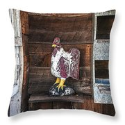Quiet Rooster Wood Carved Throw Pillow