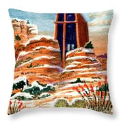Quiet Snowfall  Sedona  Arizona Throw Pillow