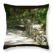Bench In A Stone Wall Throw Pillow