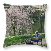 Quiet Time Among The Cherry Blossoms Throw Pillow