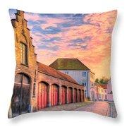 Quiet Village Sunset Throw Pillow