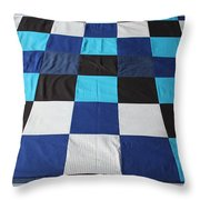 Quilt Blue Blocks Throw Pillow by Barbara Griffin
