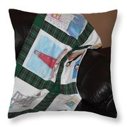 Quilt Newfoundland Tartan Green Posts Throw Pillow by Barbara Griffin