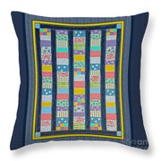 Quilt Painting With Digital Border 2 Throw Pillow