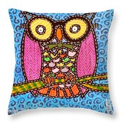 Quilted Judge Owl Throw Pillow