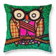 Quilted Mr Owl Esquire Throw Pillow
