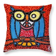 Quilted Professor Owl Throw Pillow