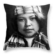 Quinault Indian Girl Circa 1913 Throw Pillow by Aged Pixel