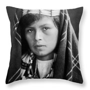 Quinault Indian Woman Circa 1913 Throw Pillow by Aged Pixel