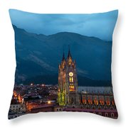 Quito Basilica At Night Throw Pillow
