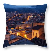 Quito Old Town At Night Throw Pillow