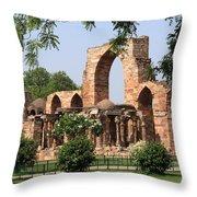 Qutab Minar Ruins Throw Pillow