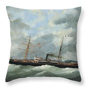 R. Bell And Co.s Steamship Bothal In A Heavy Swell Throw Pillow