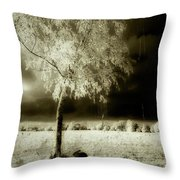 Rabbit In The Distant Shadows Throw Pillow