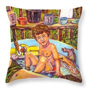 Rabbit In The Pool Throw Pillow