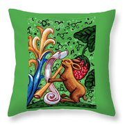 Rabbit Plays The Flute Throw Pillow