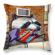 Raccoon On The Wall Throw Pillow