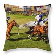 Race 6 - Del Mar Horse Race Throw Pillow
