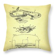 Race Car Track With Race Car Retaining Means Patent 1968 Throw Pillow